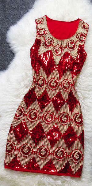 embroidery sequined dress jaglady