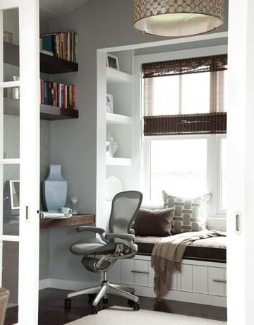 A Great Office Space Love The Reading Nook And Built In