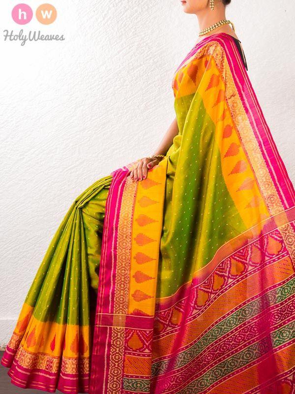 #Green #Handwoven #Katan #Silk #Patola #Saree #HolyWeaves