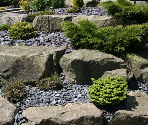 Front garden - slate / rockery plants.  Low maintenance