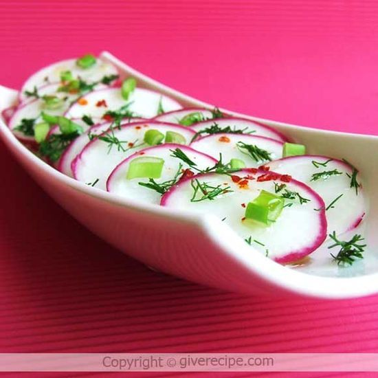 Radish Salad | Giverecipe.com | #radish#salad#healthy  I love radishes!