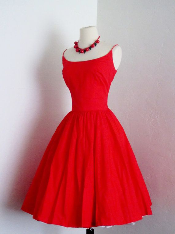 vintage 1950's E.T. Jrs by Elaine Terry candy apple red pin up cotton summer party picnic sundress.