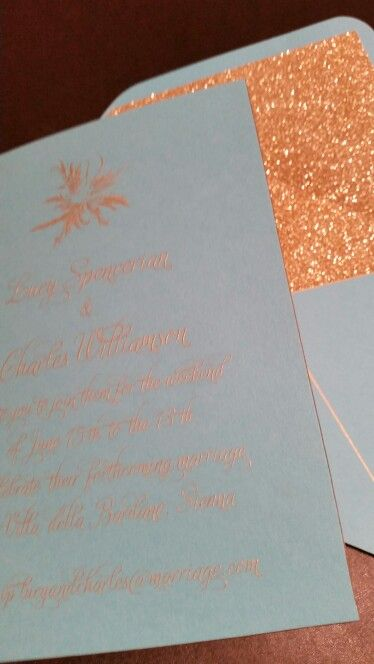 Engaved gold ink on turquoise with accent gold detailing on the edges of the invitation & envelope plus glitter liner.....eeeeekalicious