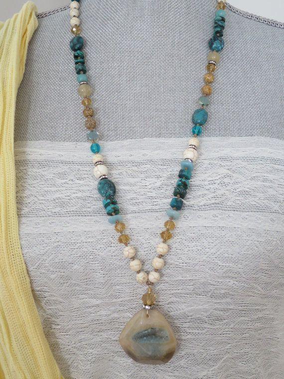 SALE  Drusy Agate pendant necklace  Spider Web by PassionKnots