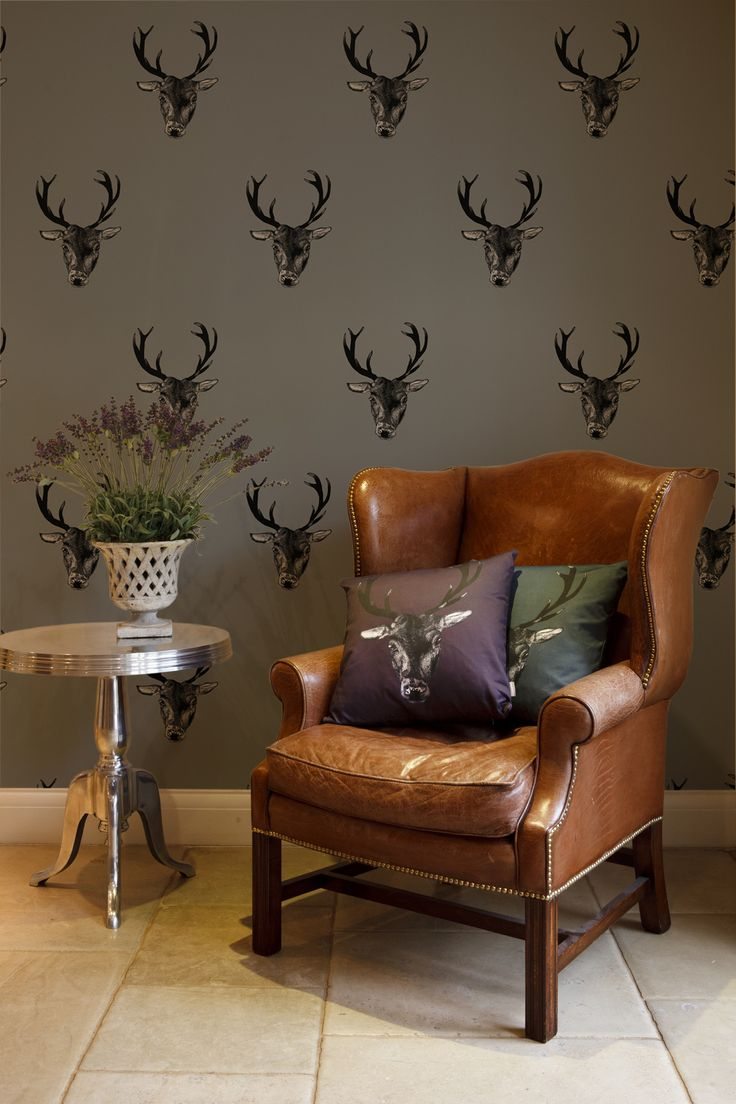This Fabulous Graduate Collection Stag Print Wallpaper By Designer Lisa  Bliss Features A Super Cool Hand Drawn Stag Design,u2026
