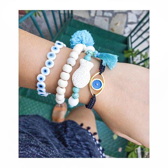 greek jewelry evil eye jewelry white coral bracelet summer