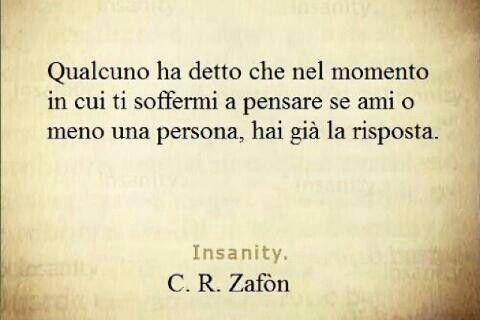 qualcuno ha detto che nel momento in cui ti soffermi a pensare se ami o meno una persona, hai già la risposta (C. R. Zafón)