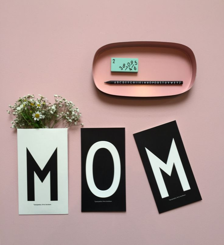 M for mom and Flowers for mom. Personal greeting card with AJ Vintage ABC typography.