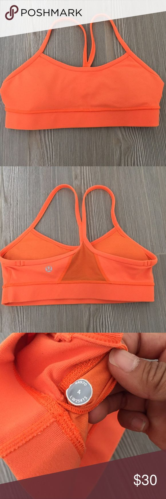 Lululemon Flow Y Sports Bra bright orange size 4 Size 4, worn and washed a few times. In great condition! Has the removable cup inserts. Let me know if you have any questions! lululemon athletica Intimates & Sleepwear Bras