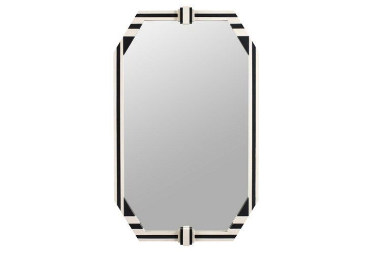 Striped Oversize Wall Mirror,  Ivory