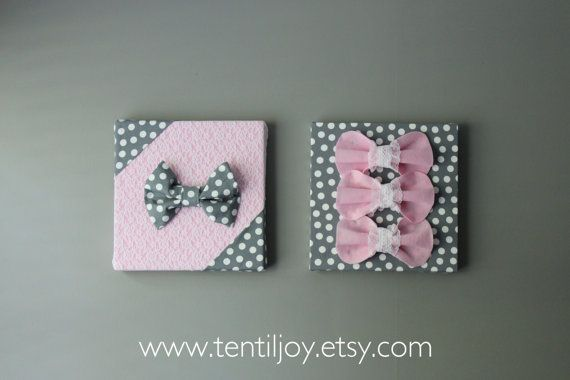 "Two Pink and Gray Wall Art Canvases, Lace, Pink & Polka Dot 3D Wall Hangings, 12x12"" Nursery Art, Baby Room Art, Baby Girl"