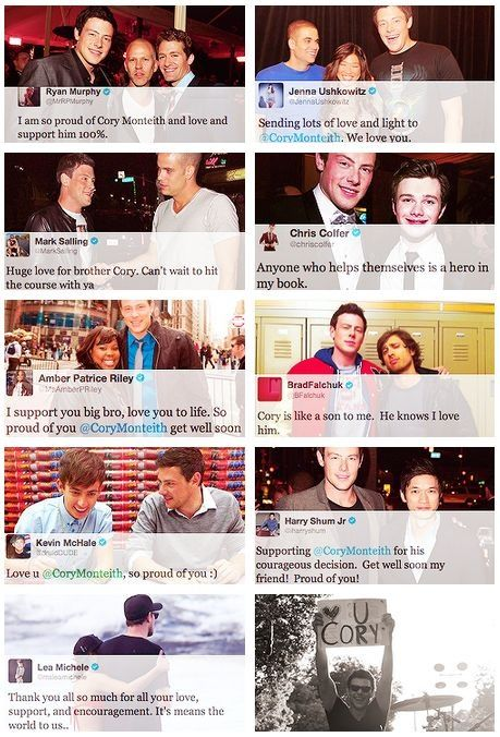 Glee cast talks of Cory Monteith.  they are a family and they always supported each other.