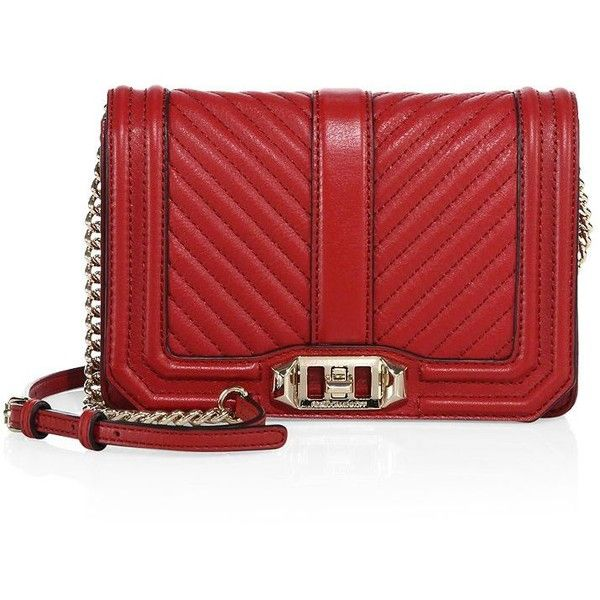 Rebecca Minkoff Small Love Chevron-Quilted Leather Crossbody Bag ($205) ❤ liked on Polyvore featuring bags, handbags, shoulder bags, apparel & accessories, red crossbody, rebecca minkoff handbags, rebecca minkoff crossbody, chain strap purse and red cross body purse