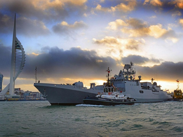 INDIAN Naval Ship Tarkash visited HMNB Portsmouth on Thursday 22nd November 2012   The ship, built in Russia, is the newest addition to the Indian Fleet and is on her way to India for the first time.   Official Royal Navy photo by  Dave Jenkins via Flickr. Posted by author Charles McCain