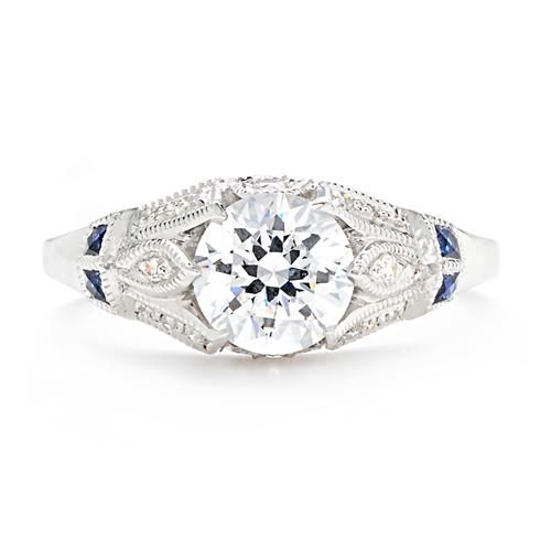 Beverley K Vintage-Inspired Engagement Ring with Sapphire Accents