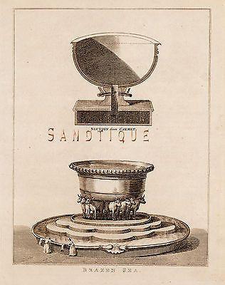 CALMET'S BIBLE DICTIONARY - BRAZEN SEA - Copper Engraving -1801
