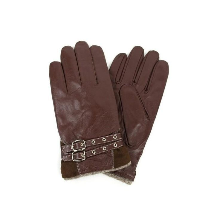 Men Brown 100% Genuine Leather Belted Gloves Lined sz Large NWT NEW #Simi #EverydayGloves