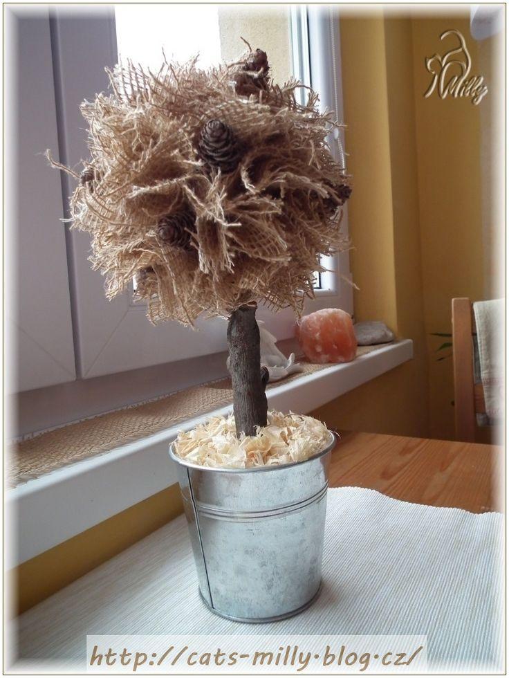 burlap, tree, autumn