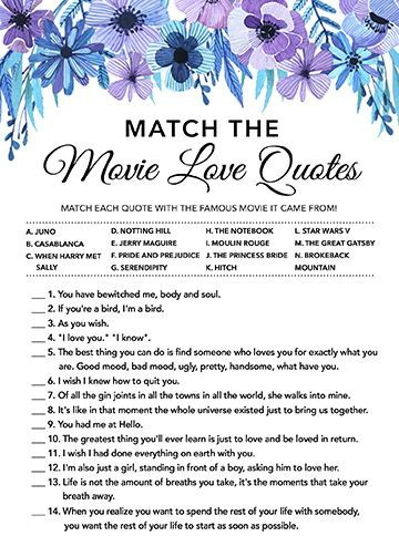 match the movie love quote bridal shower games printables bridal shower game bridal shower instant download wedding game watercolor