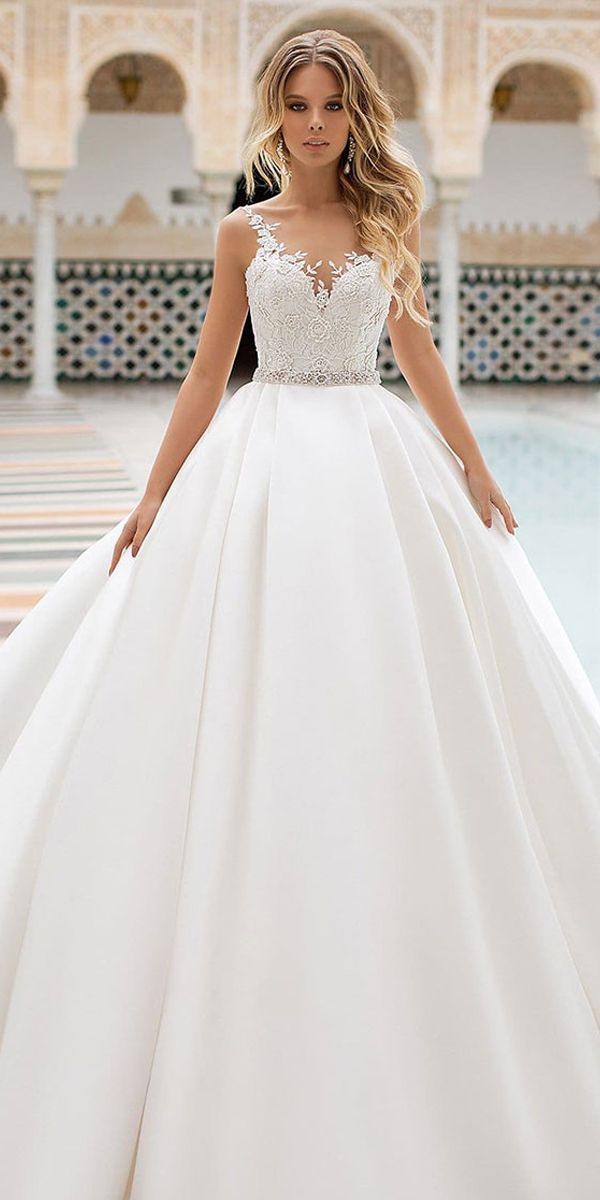 Magbridal Delicate Tulle & Satin Scoop Neckline A-Line Wedding Dress with Lace Appliques & Beading & Belt