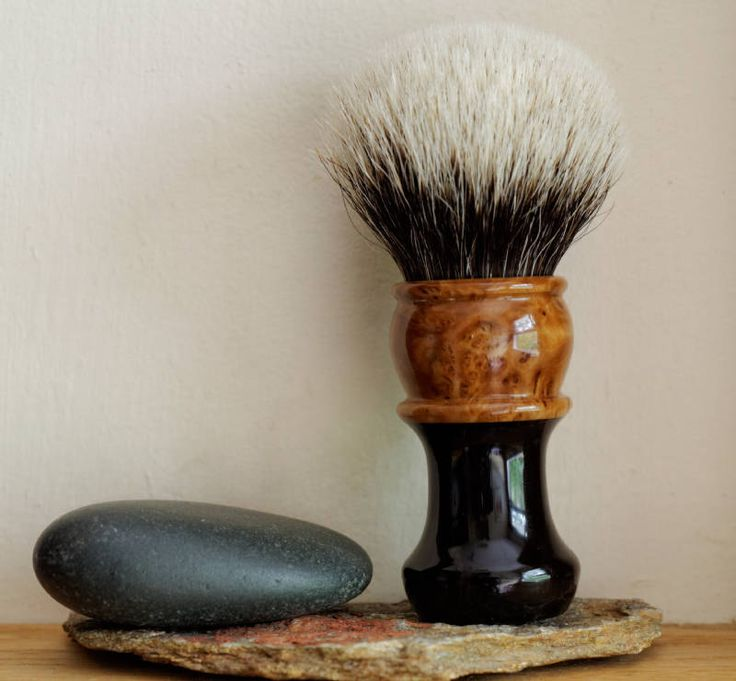 Exotic Wood Shaving Brush - Hand-Made with Water Proofed Ebony and Grey Box Burl…
