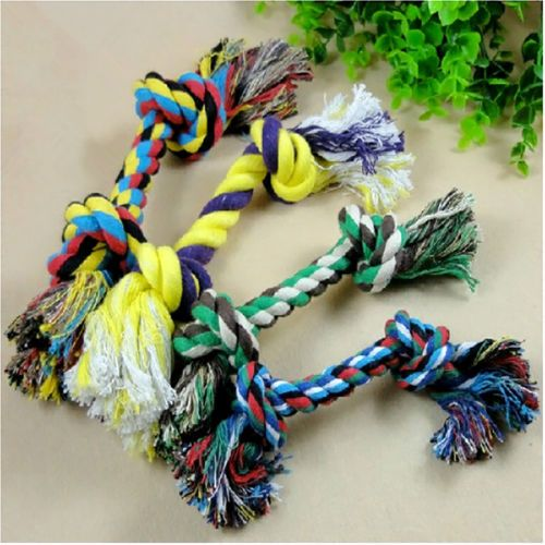 Pet-Chew-Knot-Toy-Cotton-Braided-Bone-Rope-Color-Puppy-Dog