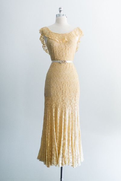 1930s Yellow Lace Bias Gown