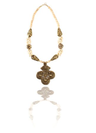 Brass Necklace | Buy White Stone Brass Necklace Online in India
