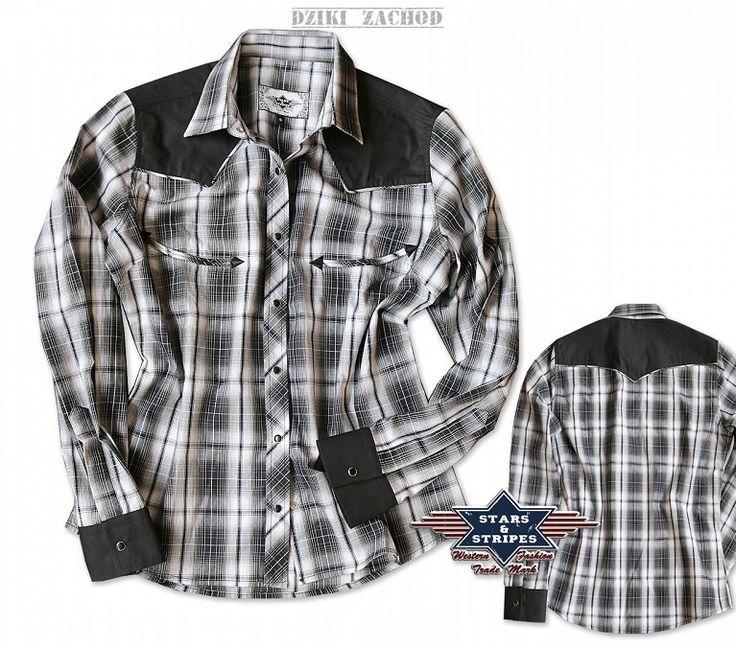 Damska koszula wczarno-białą kratkę. Karczek oraz mankiety w kolorze czarnym. Koszula zapinana na czarne zatrzaski. Z przodu koszuli imitacja kieszeni. Rękaw zapinany na jeden zatrzask. Materiał: 100 % bawełna.      Rozmiar obw.klatki(cm) długość(cm) dł.rękawa(cm)   S 104 56 57   M 112 58 60   L 116 60 61