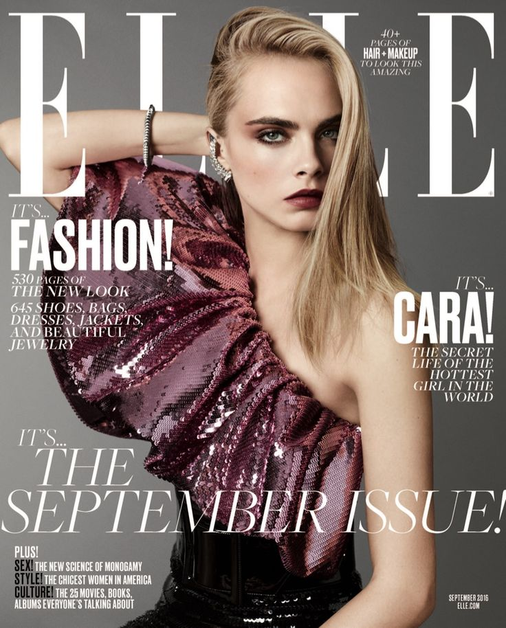 Cara Delevingne in Saint Laurent on ELLE Magazine September 2016 Cover