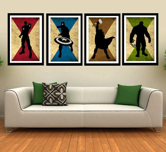 "The 4 Avengers superhero - Captain america, Hulk, Ironman, Thor - minimalist art movie poster prints 4 x 11""x17"" on Etsy, £31.76"