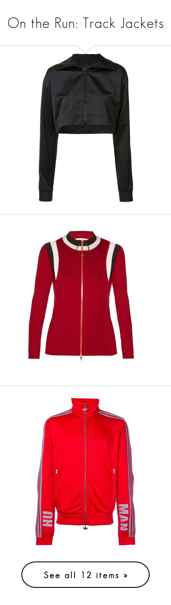 """""""On the Run: Track Jackets"""" by polyvore-editorial ❤ liked on Polyvore featuring trackjackets, black, activewear, activewear jackets, green, logo sportswear, track jacket, adidas activewear, tracksuit jacket and adidas"""