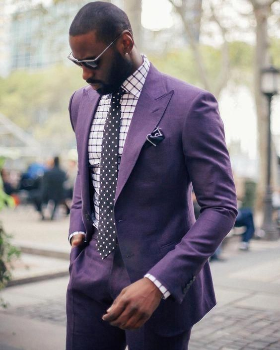 2017 Latest Coat Pant Design Purple Men Suit Groom Jacket Slim Fit