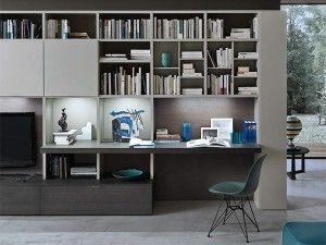 parete attrezzata piano scrivania a modo
