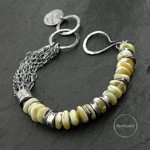 Sterling silver et blanc bracelet ambre  bracelet par studioformood