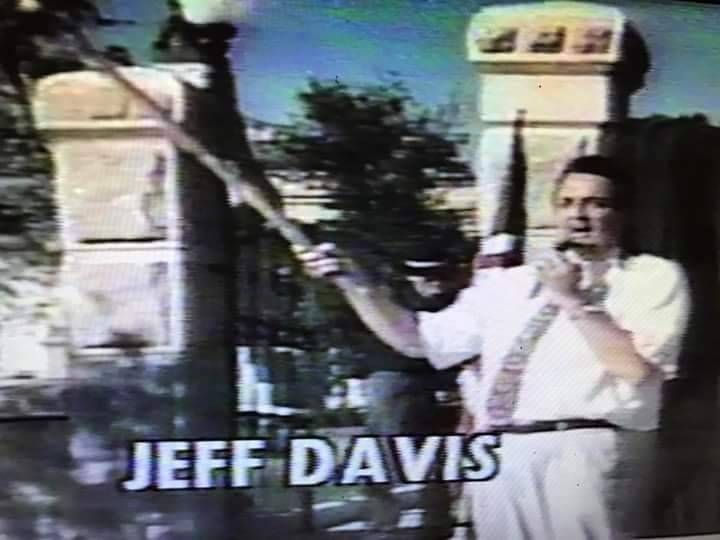Jeff Davis Show - Legendary Photos Jeff Davis burns an NWO United Nations flag @ Austin Texas USA State Capitol 1997 Remaining photos - Some with Alex Jones Channel Austin TV studios Austin Texas...
