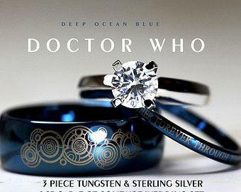 BLUE Doctor Who Wedding Ring Set His 8mm Tungsten Hers 4mm 925 Sterling Silver 1.25 Carat Solitaire CZ  $115.00