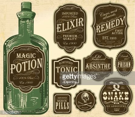 Elegant Set of assorted old fashioned labels with bottle Just place label over bottle to customize