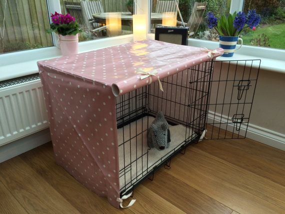 Medium Dog Crate Cover Pink Spot Oilcloth by TheCosyCanineCompany