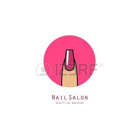 beauty makeup logo: Rosa chiodo piazza su un dito. Icona di bellezza salone