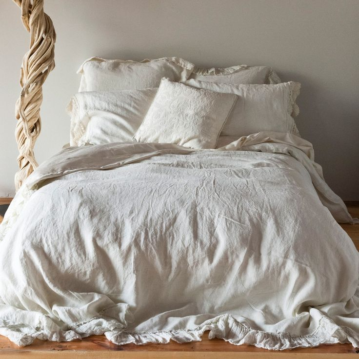 "Whisper Linen is gossamer, loosely woven 100% linen that epitomizes Bella Notte's casual elegance. The Whisper duvet cover pairs signature solid linen for the top and bottom of the cover, trimmed out on three sides with an ethereal 5"" Whisper Linen ruffle.: Beaches Theme, White Beds, Duvet Covers, Whisperer Linens, Linens Duvet, Covers Whisperer, Linens Beds, Bella Nott, Cozy Beds"