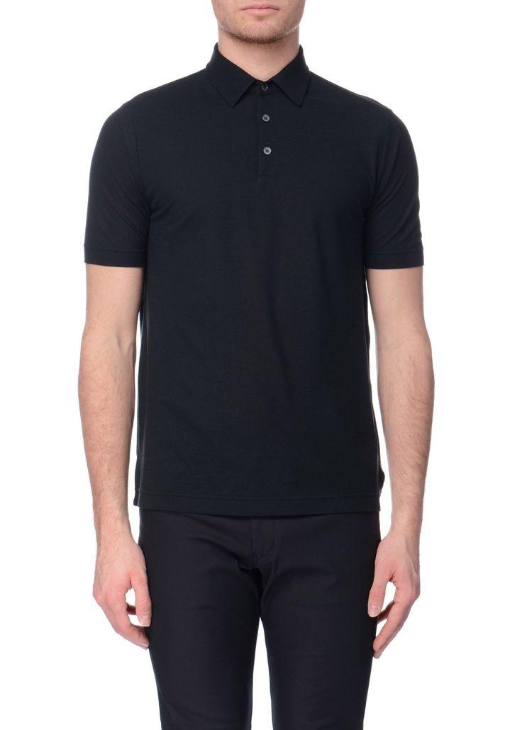 Zanone - SS17 - Menswear // Black polo shirt in cotton