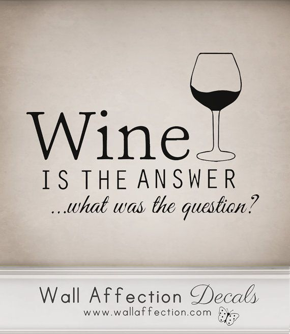 Wine is the answer -   Wall decal funny humour alcohol sticker transfer kitchen on Etsy, $14.52