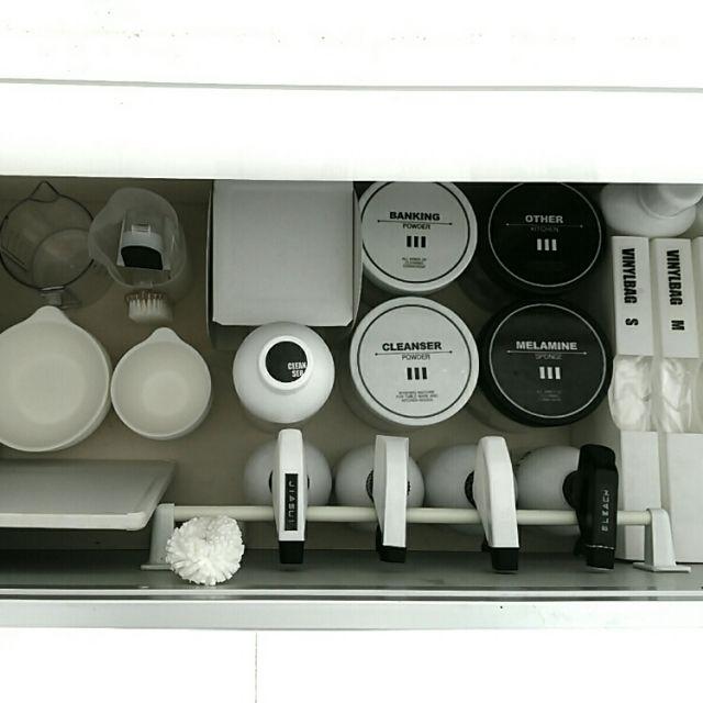 mi-さんの、シンク下収納,ラベル,掃除,セリア,キャンドゥ,100均,ダイソー,収納,グレー,モノトーン,白黒,北欧,DIY,キッチン,のお部屋写真
