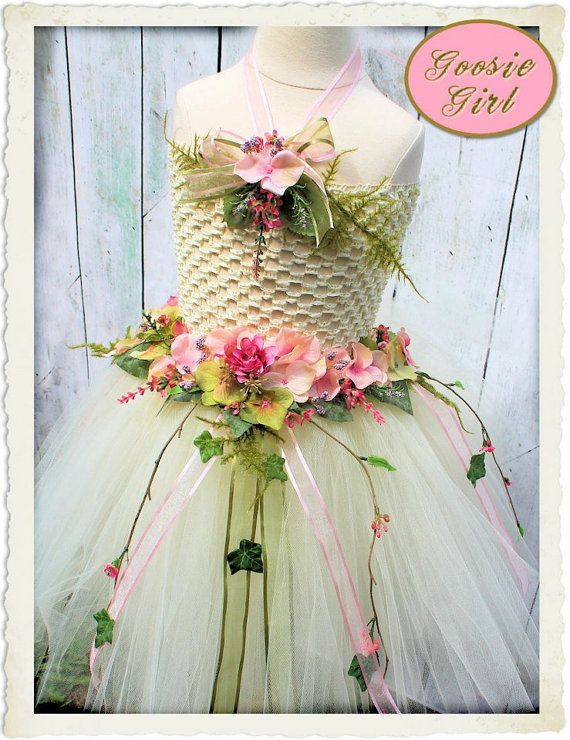 Fairy Innocence Tutu Gown Wings Lace Crown by GoosieGirl ready to ship and one of a kind
