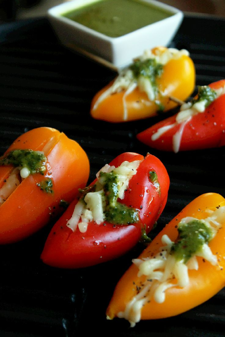 ... Grilled Cheese Stuffed Mini Peppers with Roasted Garlic Chimichurri