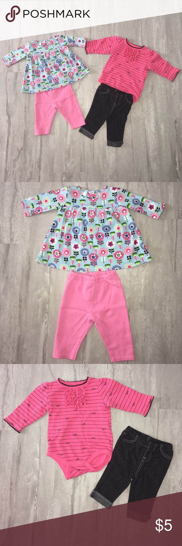 """0-3 month matching sets. Outfit on the left has pink pants with a blue with pink flower design top. The top is flowy. This outfit is Zutano Itzy Bitzy brand and is sized at 3 months. Excellent condition.  The outfit on the right is a pink onesie with matching jeggins. The onesie has ruffle detail on the front and black stripes with the word """"cutie."""" This outfit is the brand Small Wonders and is sized 0-3 months. This outfit was worn once and is in excellent condition. Zutano Matching Sets"""