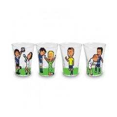 Copo de Tequila Fatos das Copas 4 peças - Vaca Design  Tome shots de vodka, tequila e chacaça em um conjunto para aperitivos perfeito para os apaixonados por futebol. Relembre os fatos mais marcantes das últimas copas, La Mano de Dios do Maradona que marcou a copa de 1986, o penalty perdido por Roberto Baggio em 1994, a comemoração do Ronaldo Fenômeno que virou uma marca de 2002 e a cabeçada do craque Zizou na final da copa de 2006.