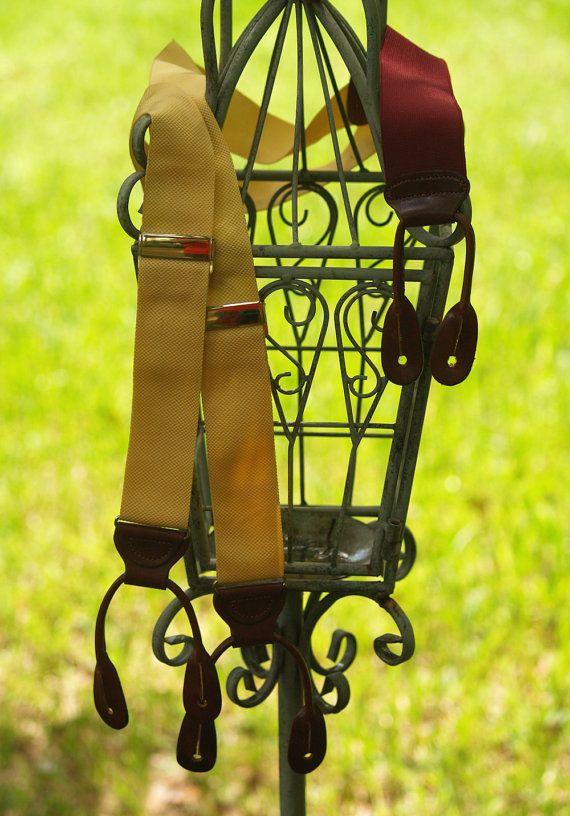 Buttercup and Maroon Trafalgar Button Suspenders