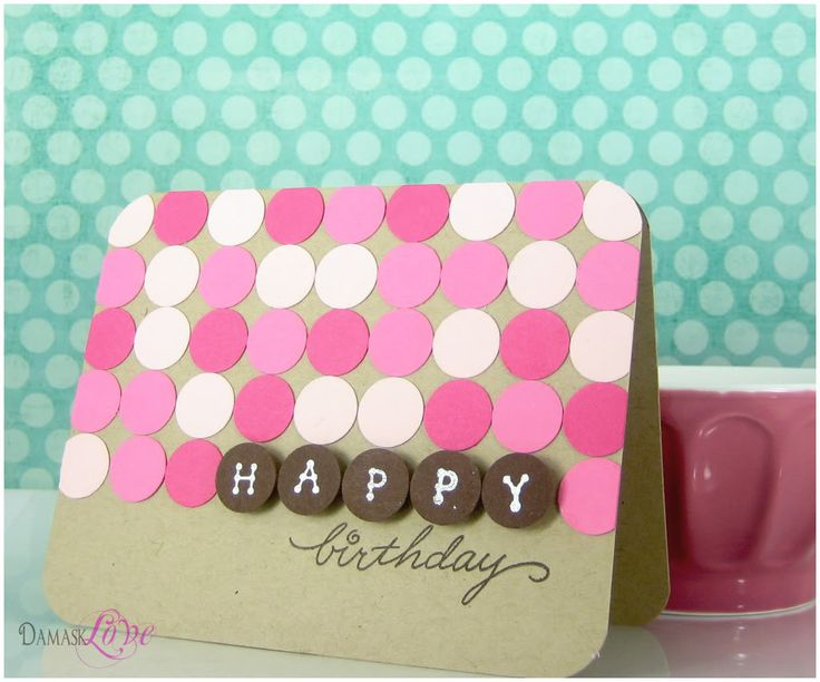 "I would put the colored circles all over card, and then Have the ""Happy"" and ""Birthday"" in a different color in circles on the card."